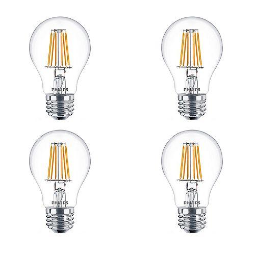 Philips Ampoule DEL à lum. chaude A19, équiv. 40 W, 2 700 K à 2 200 K, verre transp., bl. doux, ens. de 4