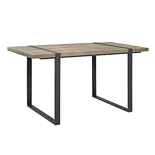 60 inch Industrial Metal Wood Dining Table - Driftwood