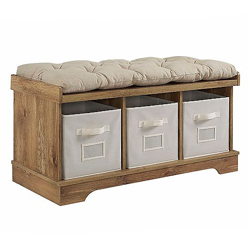 Modern Farmhouse Entryway Storage Bench with Storage Totes - Barnwood