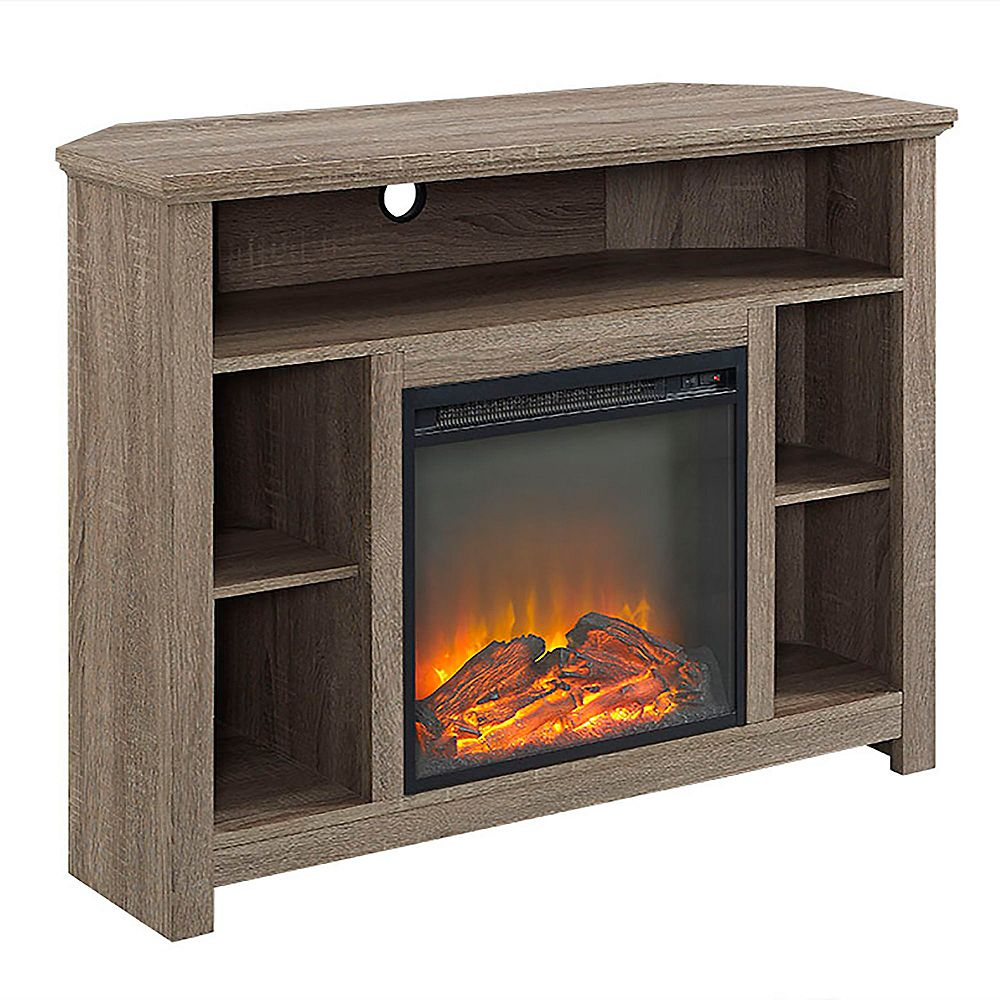Walker Edison Tall Corner Fireplace TV Stand for TV's up to 48 inch - Driftwood
