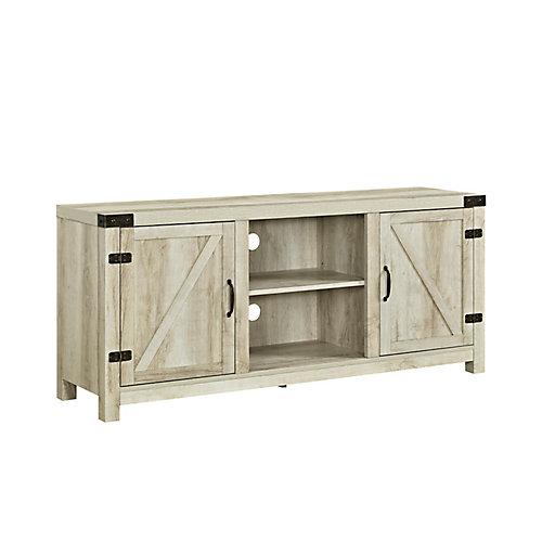 Meuble TV à portes en chêne blanc avec portes latérales de 147cm (58po)