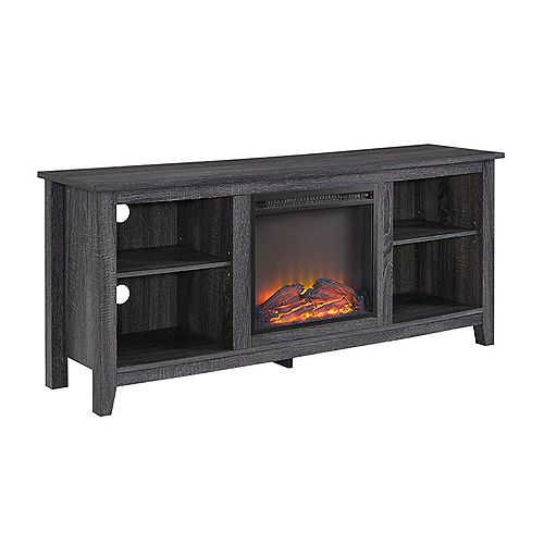 Minimal Farmhouse Fireplace TV Stand for TV's up to 64 inch- Charcoal