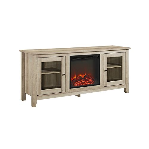 Traditional Fireplace TV Stand for TV's up to 64 inch - White Oak