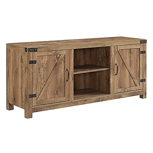 Meuble TV - Cheminée porte de grange en bois rustique de 178cm (58po)