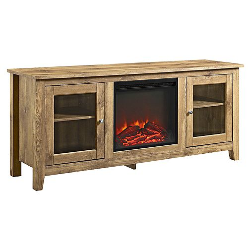 Traditional Fireplace TV Stand for TV's up to 64 inch - Barnwood