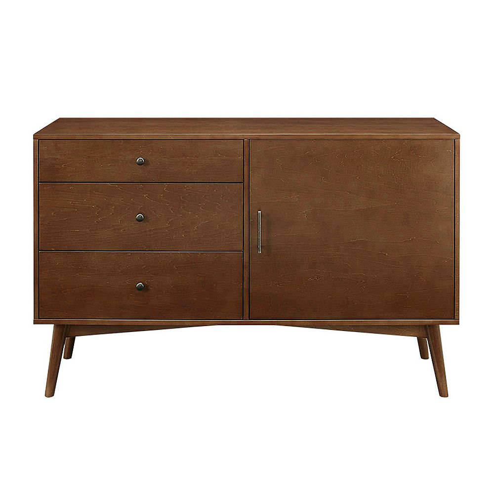 Walker Edison Mid Century Modern TV Stand for Tv's up to 56 inch- Walnut