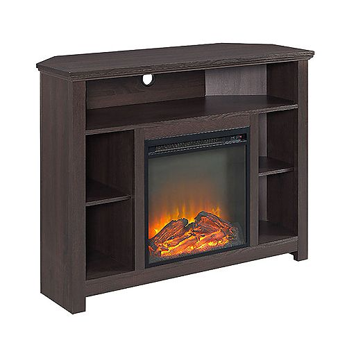 Tall Corner Fireplace TV Stand for TV's up to 48 inch - Espresso