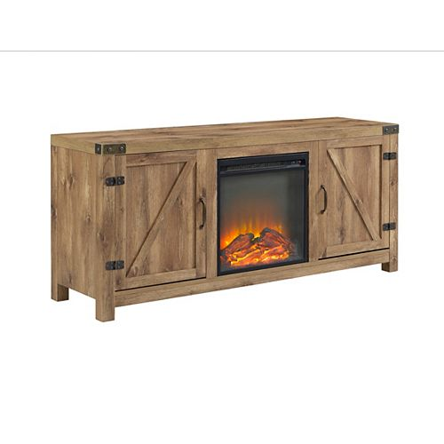 Walker Edison Farmhouse Barn Door Fireplace TV Stand for TV's up to 64 inch - Barnwood