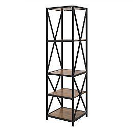 Armoire de livres et médias en bois rustique et métal à haut cadre en X de 155 cm (61 po)