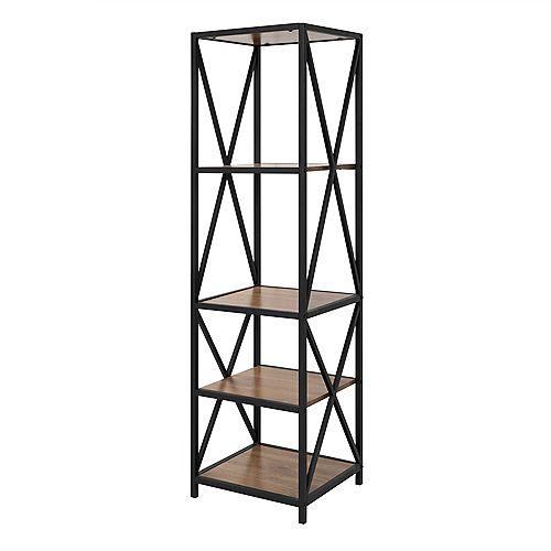 Armoire de livres et médias en bois rustique et métal à haut cadre en X de 155cm (61po)