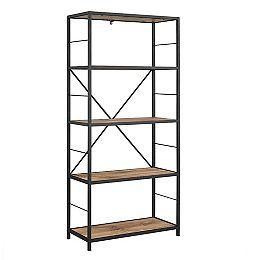 Armoire de livres et médias en bois rustique et métal de 152 cm (60 po)