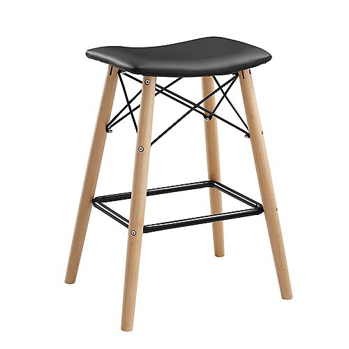 26 inch Mid Century Faux Leather Backless Counter Stool - Black