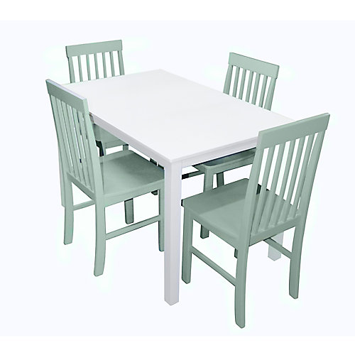 4 Person Modern Dining Table and Chair Set - White/Sage