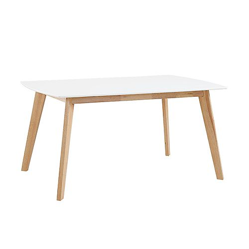 6 Person Mid Century Modern Wood Dining Table  - White/Natural