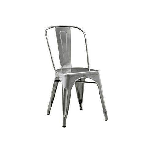 Metal Café Bistro Chair - Gun Metal Silver