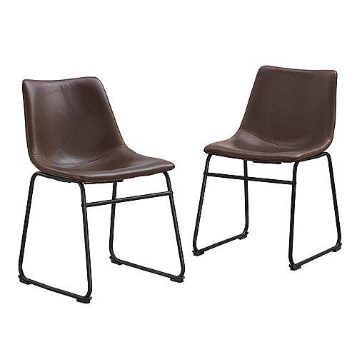 Chaises de salle à manger en faux cuir de , ensemble de 2 en Marron