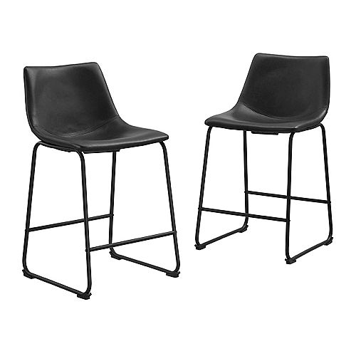 24 inch Industrial Faux Leather Counter Stools, set of 2 - Black