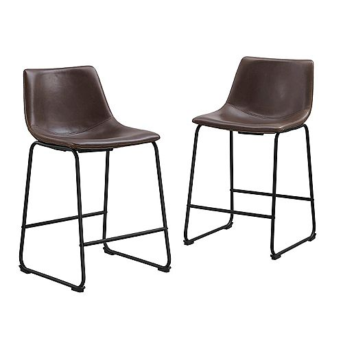 24 inch Industrial Faux Leather Counter Stools, set of 2 - Brown
