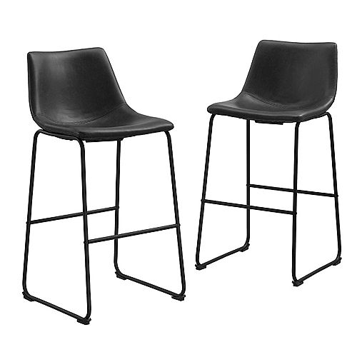 30 inch Industrial Faux Leather Barstool, set of 2- Black