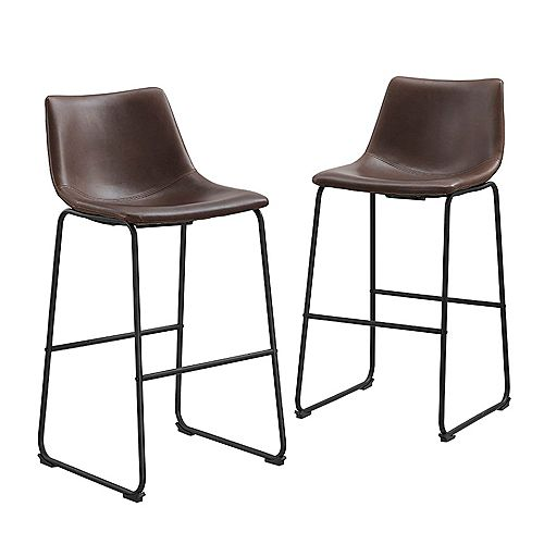 30 inch Industrial Faux Leather Barstool, set of 2- Brown