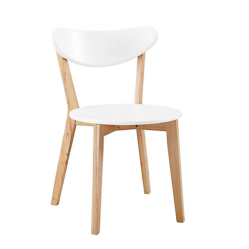 Mid Century Modern Wood Dining Chairs, Set of 2  White/Natural