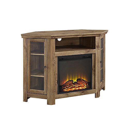 Tall Corner Fireplace TV Stand for TV's up to 52 inch - Barnwood