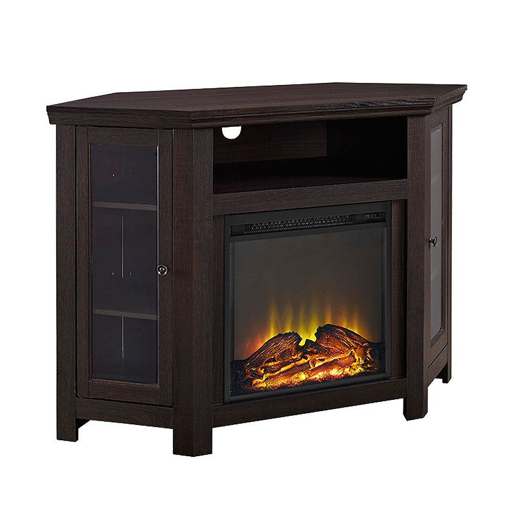 Walker Edison Tall Corner Fireplace TV Stand for TV's up to 52 inch - Espresso