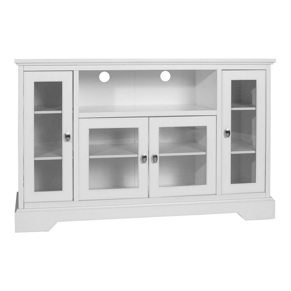 Walker Edison Traditional Wood TV Stand for TV's up to 56 inch - White