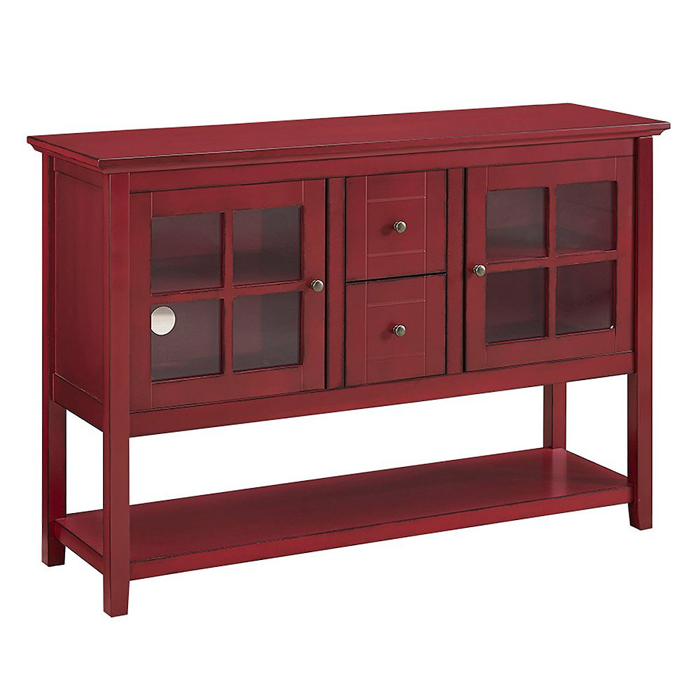 Walker Edison Rustic Farmhouse Buffet and Storage Cabinet - Red
