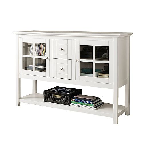 Rustic Farmhouse Buffet and Storage Cabinet - White