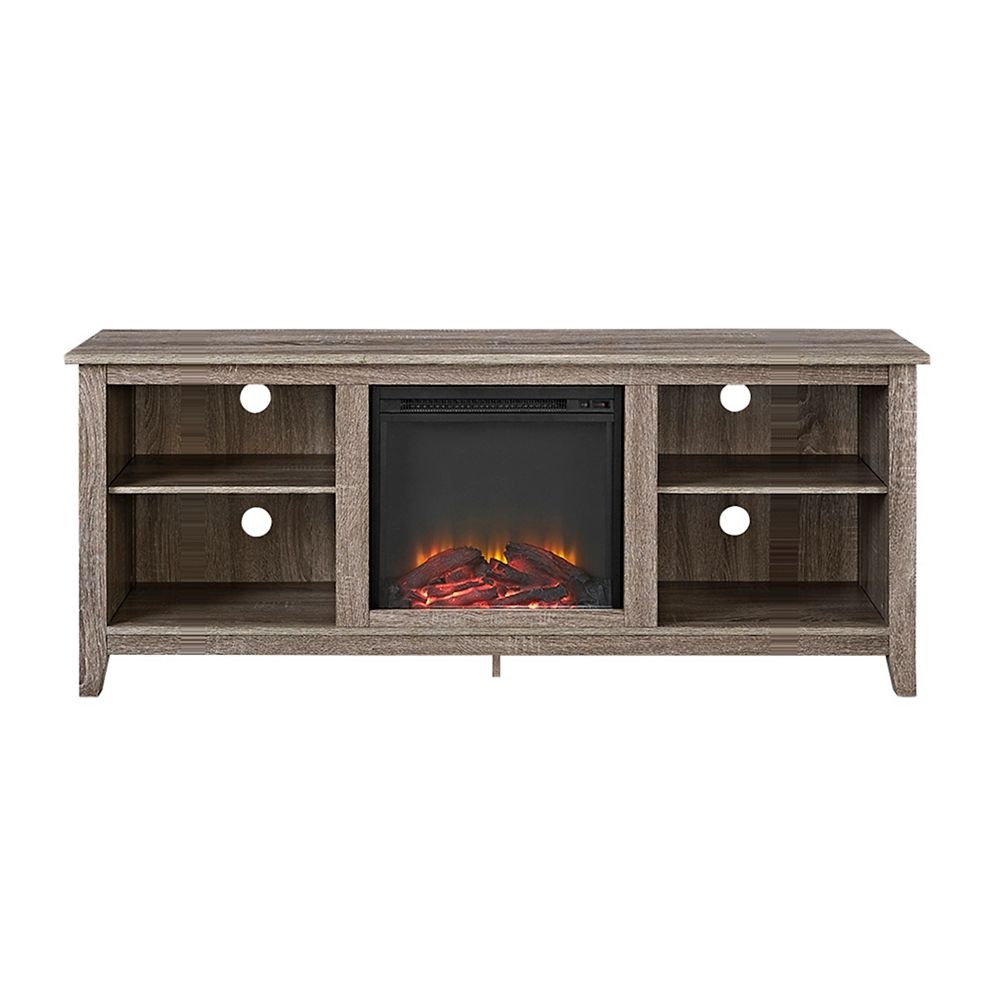 Walker Edison Minimal Farmhouse Fireplace TV Stand for TV's up to 64 inch- Driftwood