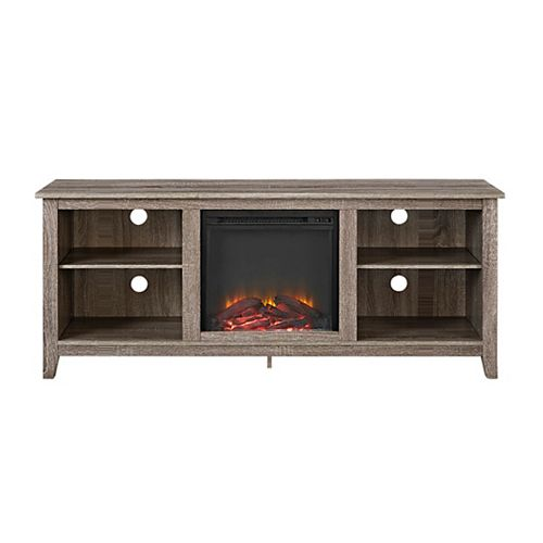 Minimal Farmhouse Fireplace TV Stand for TV's up to 64 inch- Driftwood