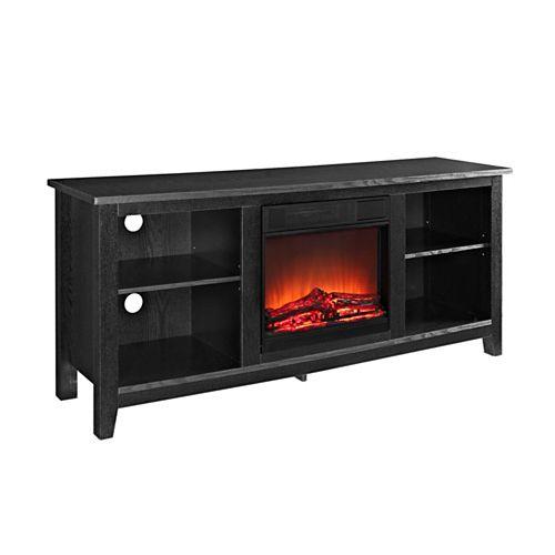 Noir Console pour média de télévision en bois de 147,32 cm (58 po) avec cheminée