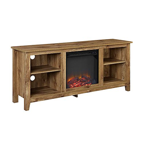 Minimal Farmhouse Fireplace TV Stand for TV's up to 64 inch- Barnwood
