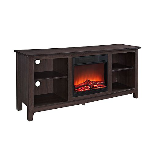 Minimal Farmhouse Fireplace TV Stand for TV's up to 64 inch- Espresso