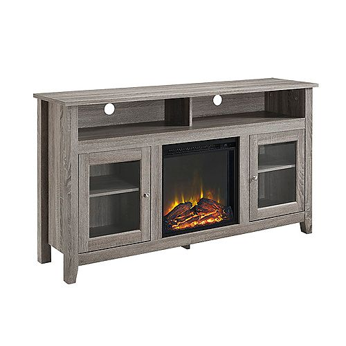 Tall Rustic Fireplace TV Stand for TV's up to 64 inch - Driftwood