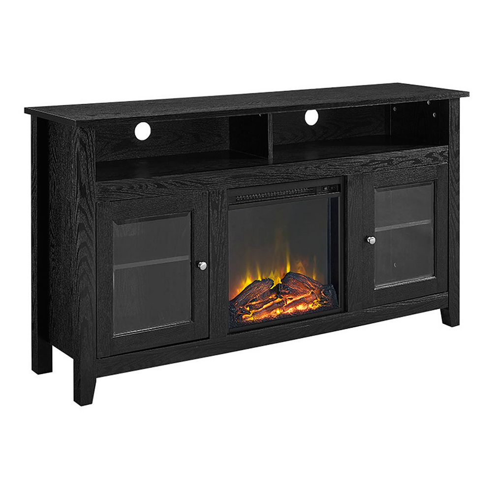 Walker Edison Tall Rustic Fireplace TV Stand for TV's up to 64 inch - Black