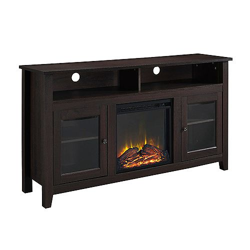 Tall Rustic Fireplace TV Stand for TV's up to 64 inch - Espresso