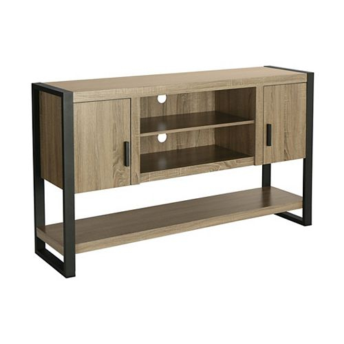 Industrial Wood and Metal TV Stand for TV's up to 66 inch - Driftwood
