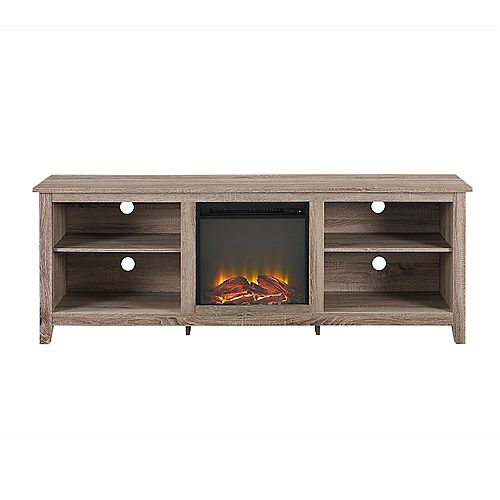 Minimal Farmhouse Fireplace TV Stand for TV's up to 78 inch- Driftwood