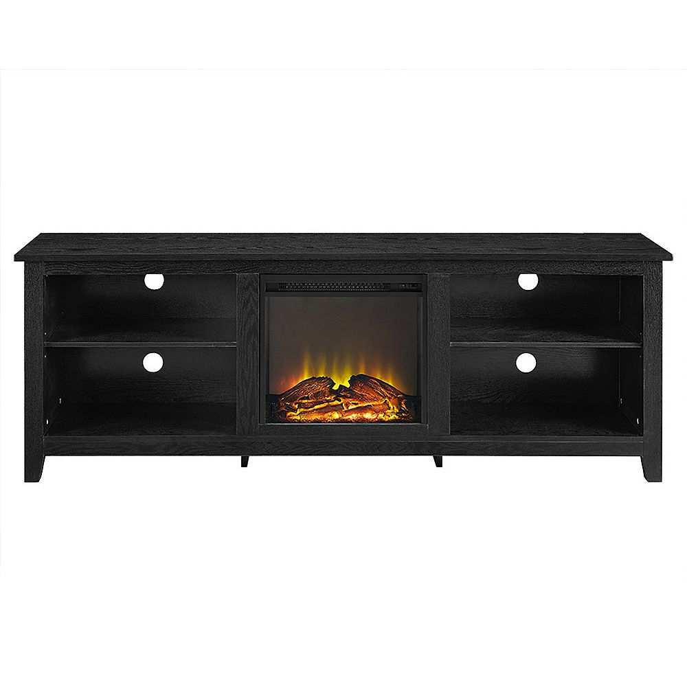 Walker Edison Minimal Farmhouse Fireplace TV Stand for TV's up to 78 inch- Black