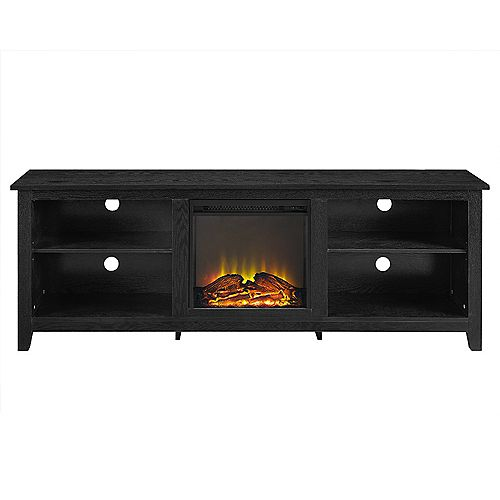Minimal Farmhouse Fireplace TV Stand for TV's up to 78 inch- Black