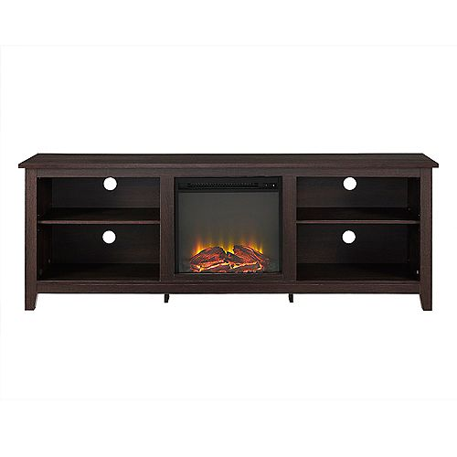 Minimal Farmhouse Fireplace TV Stand for TV's up to 78 inch- Espresso