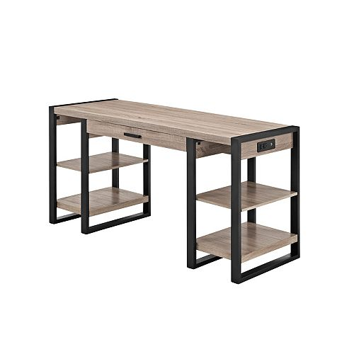 Industrial Computer Desk with 4 Shelves- Driftwood