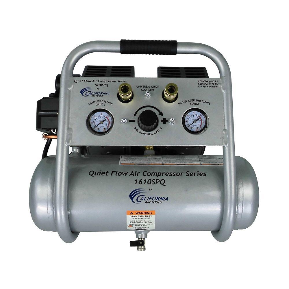 California Air Tools 1.0 HP  1.6  Gal Quiet Flow Oil-Free Steel Tank Air Compressor