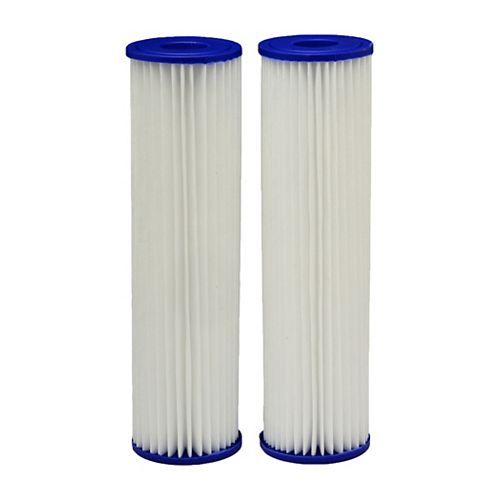 EcoPure Pleated Universal Replacement Water Filters, 2.5 inch x 10 inch (2-Pack)
