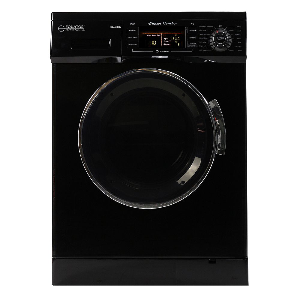 Equator All-in-one 110V, 1200 RPM Compact Combo Washer Dryer with Condensing/Venting and Sensor Dry, Black