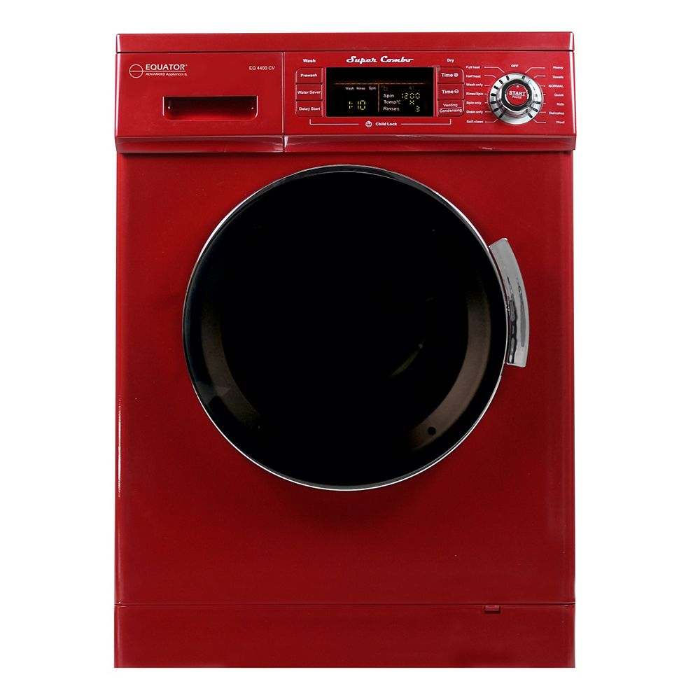 Equator All-in-one 110V, 1200 RPM Compact Combo Washer Dryer with Condensing/Venting and Sensor Dry, Merlot
