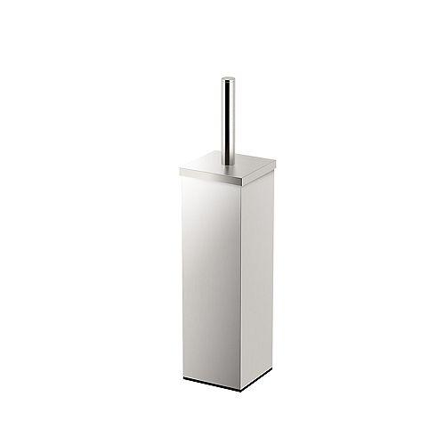 Elegant Square Modern 14 5/8 inch H Toilet Brush Holder Satin Nickel
