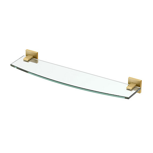 Elevate 20 1/8 inch L Glass Shelf Brushed Brass